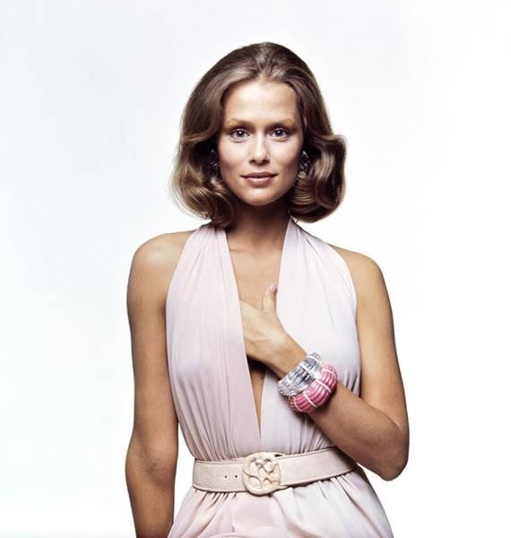 Lauren Hutton Wearing A Galanos Dress Art Print by Bert Stern