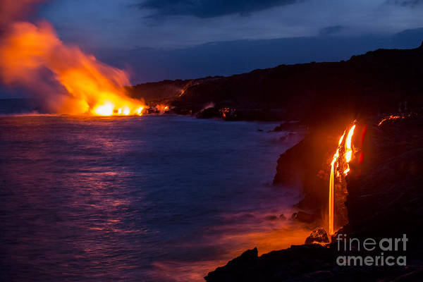 Photograph - Lava Flowing Into Ocean At Night In Hawaii by Douglas Peebles