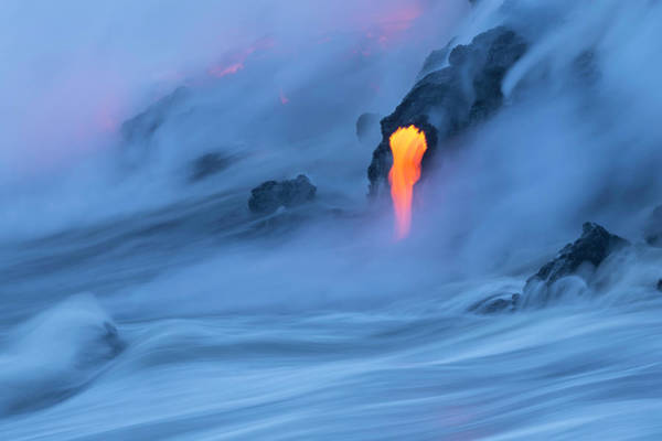 Big Island Photograph - Lava Ocean Entry by Justinreznick