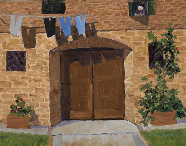 Clothesline Painting - Lavanderia by Mary Giacomini