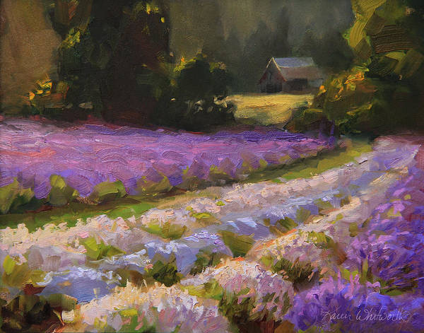 Painting - Lavender Farm Landscape Painting - Barn And Field At Sunset Impressionism  by Karen Whitworth