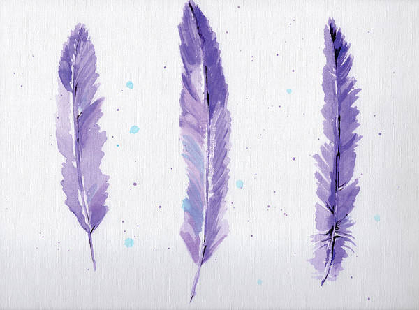 Wall Art - Painting - Lavender Feathers by Anne Seay