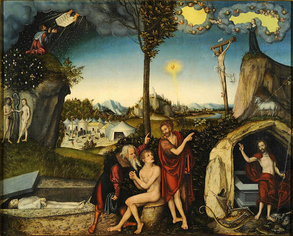 Cranach Painting - Law And Gospel. Damnation And Salvation by Lucas Cranach the Elder