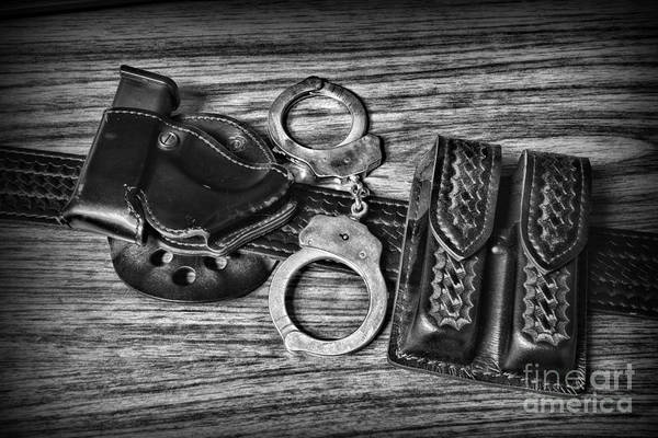 Wall Art - Photograph - Law Enforcement - Police - Duty Belt In Black And White by Paul Ward