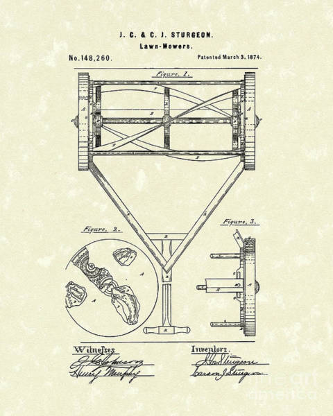 Grass Drawing - Lawn Mower 1874 Patent Art  by Prior Art Design