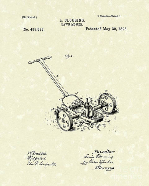 Drawing - Lawn Mower 1893 Patent Art by Prior Art Design