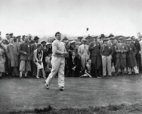 People Watching Photograph - Lawson Little Holding A Golf Club by International News Photos