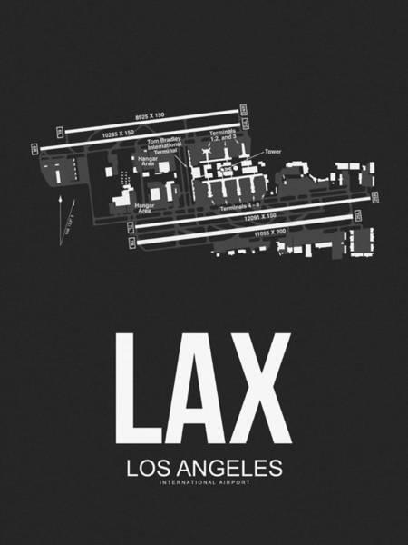 Airport Wall Art - Digital Art - Lax Los Angeles Airport Poster 3 by Naxart Studio