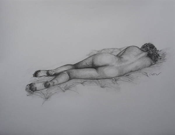 Booty Drawing - Laying In Wait by Christian Whalvin