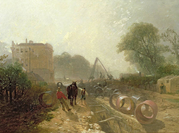 Drainage Photograph - Laying Monster Tubes From The New River, 1855 Oil On Canvas by James Baker Pyne