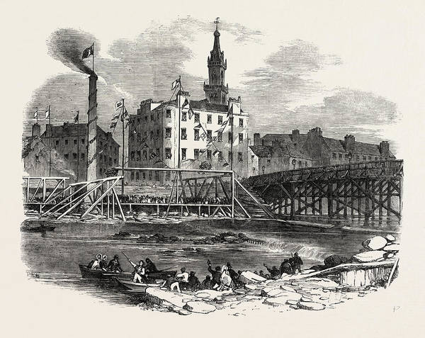 Tile Drawing - Laying The First Stone Of Tile Victoria Bridge by English School