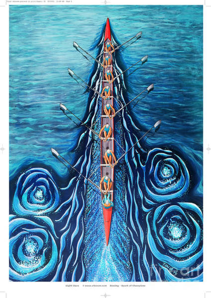 Paddling Painting - Blue Eight By O4rsom. Rowing Sport Of Champions by Tonia Williams