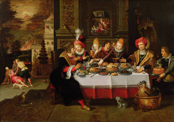 Spaniel Photograph - Lazarus And The Rich Mans Table From Luke Xvi Panel by Kasper or Gaspar van den Hoecke