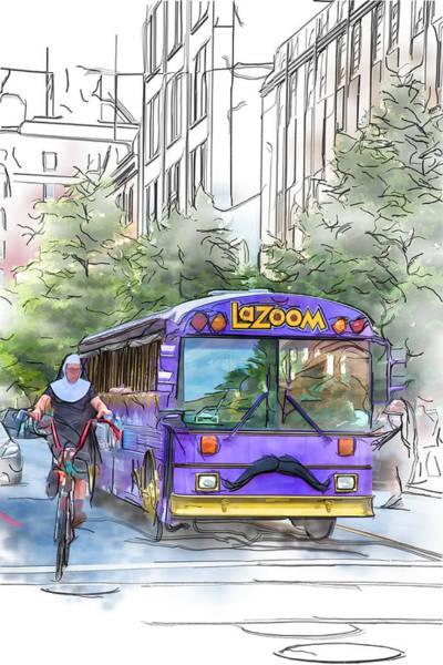 Asheville Mixed Media - Lazoom Nuns On Bikes by John Haldane