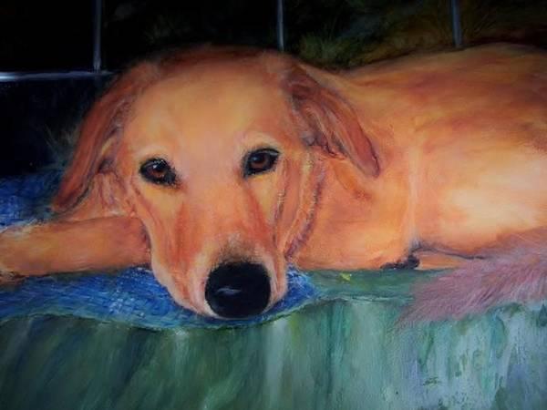 Wall Art - Painting -  Labrador Retriever Portrait - Getting Sleepy by Carolyn Gray