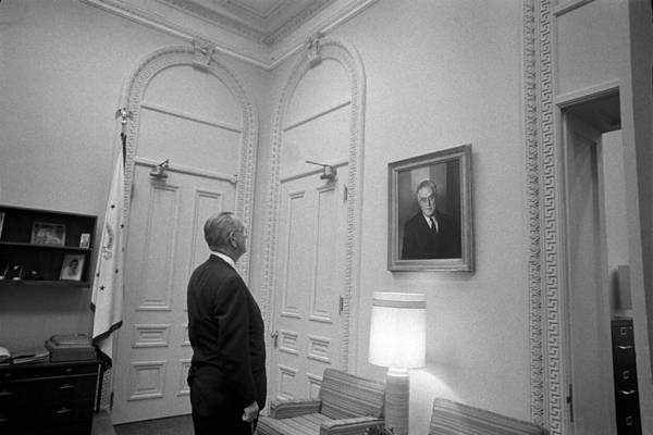 Lbj Looking At Fdr Art Print