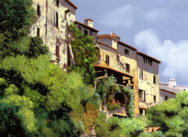Village Painting - Le Case Sulla Rupe by Guido Borelli
