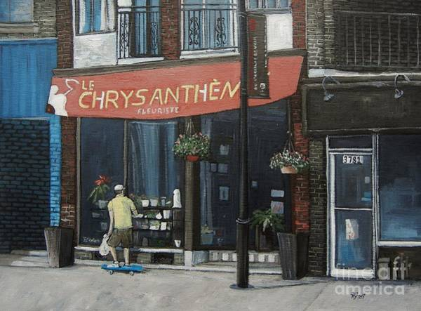 Montreal Street Scene Wall Art - Painting - Le Chrysantheme Fleuriste by Reb Frost
