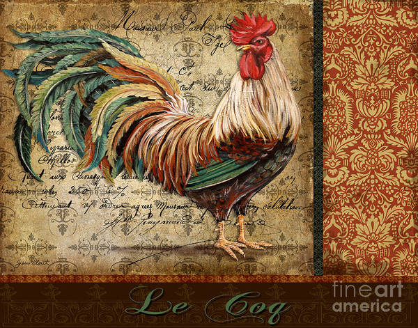 Poem Painting - Le Coq-g by Jean Plout