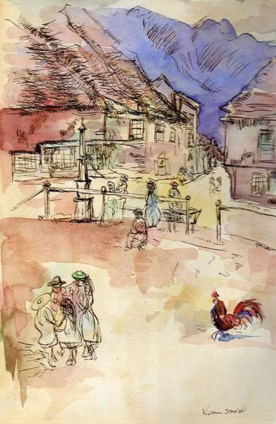 Pen And Ink Mixed Media - Le Coq Or The Rooster Influenced By Whistler by Victoria France Stavish