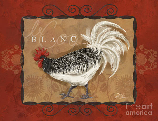 Mixed Media - Le Coq Rooster Blanc by Shari Warren