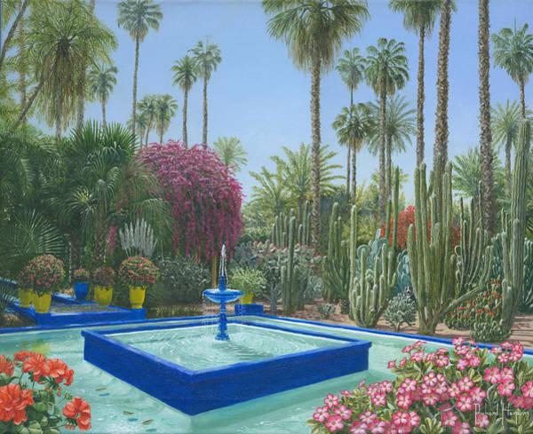 Jardin Wall Art - Painting - Le Jardin Majorelle Marrakech Morocco by Richard Harpum