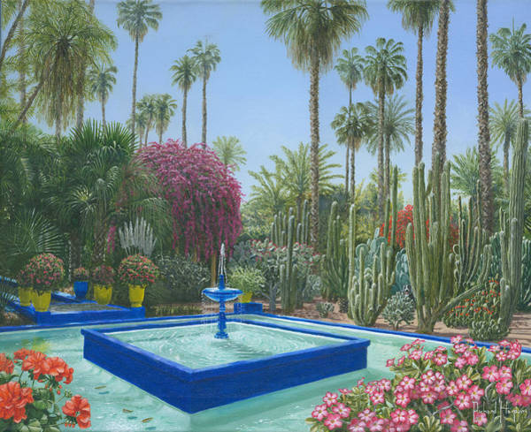 Berge Wall Art - Painting - Le Jardin Majorelle Marrakech Morocco by Richard Harpum