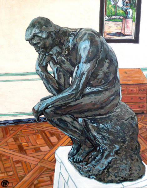 Wall Art - Painting - Le Penseur The Thinker by Tom Roderick