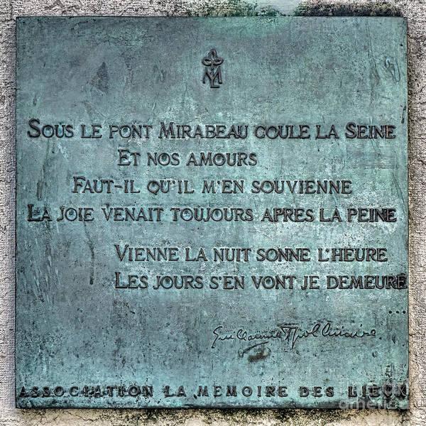 Commemorative Wall Art - Photograph - Le Pont Mirabeau by Olivier Le Queinec