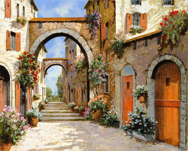 Cityscape Painting - Le Porte Rosse Sulla Strada by Guido Borelli