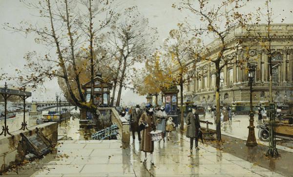 Traffic Painting - Le Quai De Louvre Paris by Eugene Galien-Laloue
