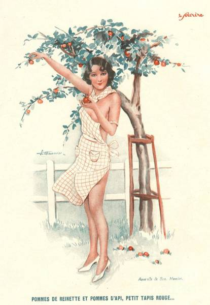 Nineteen-thirties Wall Art - Drawing - Le Sourire 1930s France Erotica Apples by The Advertising Archives