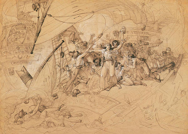 Wall Art - Photograph - Le Vengeur Du Peuple Sinking At The Battle Of Ouessant, 1st June 1794 Graphite On Paper by Louis Lafitte