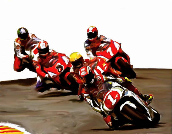 Painting - Leading The Pack II  Kevin Schwantz by Iconic Images Art Gallery David Pucciarelli
