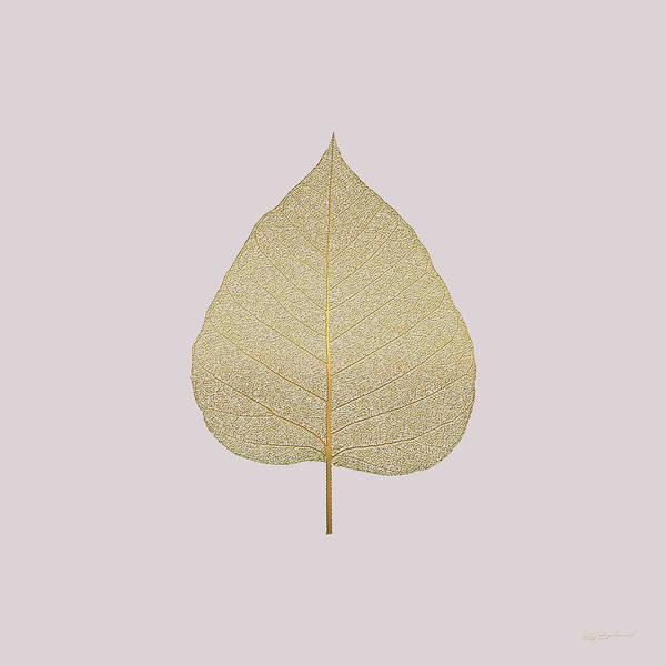 Digital Art - Leaf Veins Skeleton - Leaf Structure In Gold On Champagne Glass Pink  by Serge Averbukh
