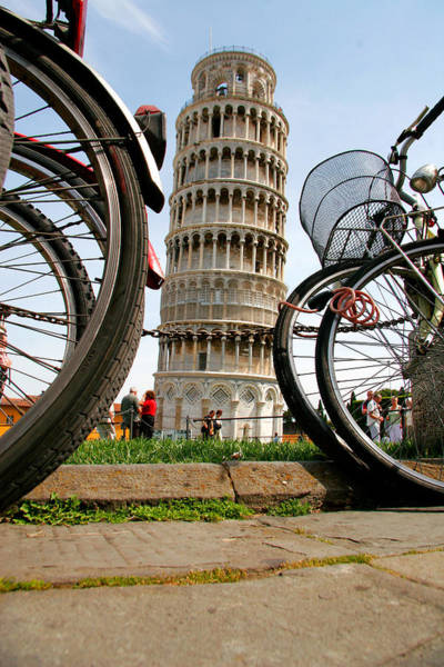 Photograph - Leaning Bicycles Of Pisa by Peter Tellone