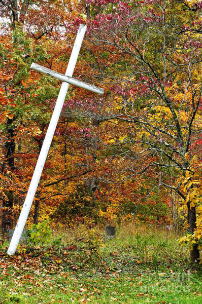 Wall Art - Photograph - Leaning Cross And Gravestone by Thomas R Fletcher