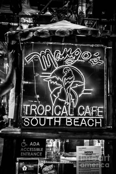 Mangos Photograph - Leaning On Mango's South Beach Miami - Black And White by Ian Monk