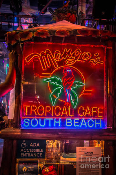 Mangos Photograph - Leaning On Mango's South Beach Miami - Hdr Style by Ian Monk