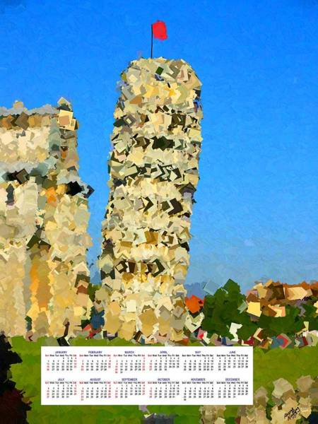 Post-it Painting - Leaning Tower Of Pisa 2014 Calendar by Bruce Nutting