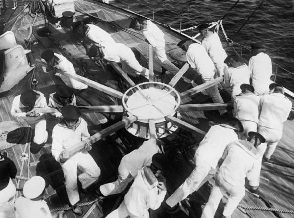 Work Boat Photograph - Learning Naval Teamwork by Underwood Archives