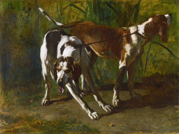 Leash Painting - Leashed Hounds by Constant Troyon