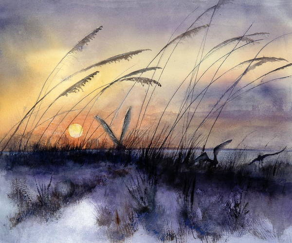 Sea Oats Painting - Least Terns by Bobby Walters