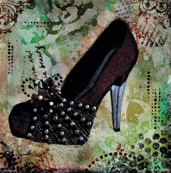 Shoe Wall Art - Mixed Media - Leather And Lace Shoes With Abstract Background by Janelle Nichol