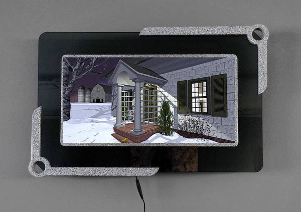 Barn Snow Digital Art - Leave The Porch Light On 3d Lenticular Transparency by Peter J Sucy