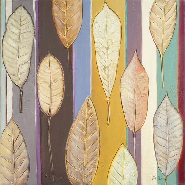 Wall Art - Digital Art - Leaves And Stripes I by Patricia Pinto