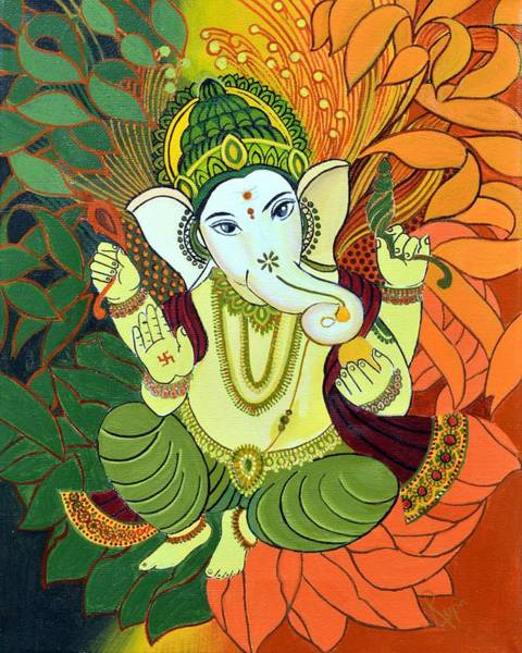 Indian God Painting - Leaves Ganesha by Rupa Prakash