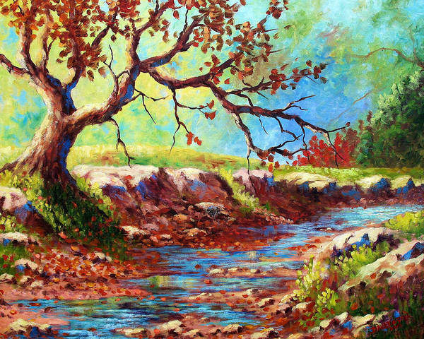 Wall Art - Painting - Leaves In The Creek by David G Paul