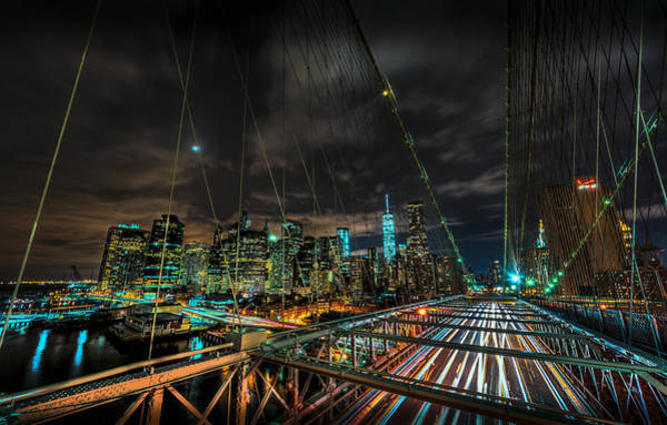 Photograph - Leaving New York City Via The Brooklyn Bridge by David Morefield