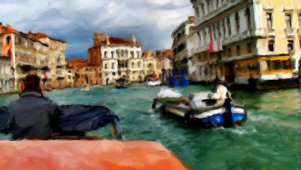 Speed Boat Digital Art - Leaving Venice by Cary Shapiro